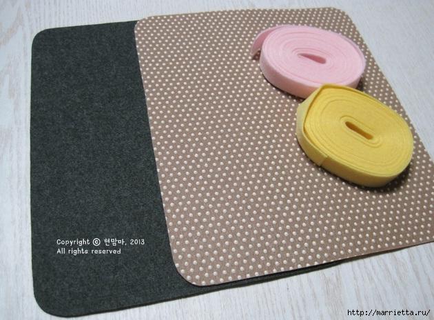 Шьем подставку для компьютерной мыши, из сукна с цветами из фетра (6) (630x464, 204Kb)
