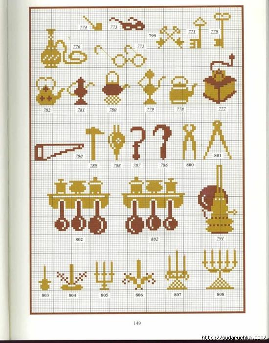 Схемы вышивки крестом миниатюры монохром 52