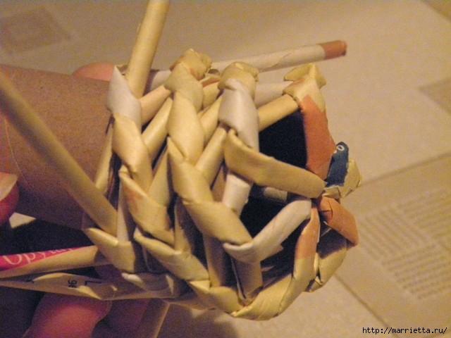 плетение из газет. венок спиральным плетением для пасхального декора (14) (640x480, 141Kb)