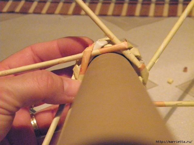 плетение из газет. венок спиральным плетением для пасхального декора (16) (640x480, 135Kb)