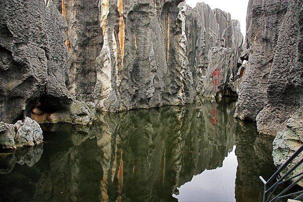 Каменный лес Шилинь, расположенный в 126 километрах к юго-востоку от Куньмина в Китае (604x403, 87Kb)