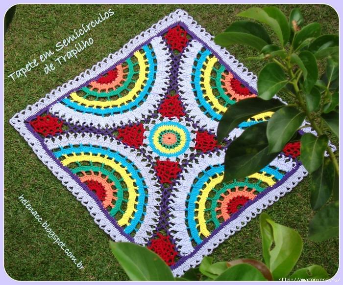 Цветной радужный коврик крючком. Схема (2) (700x583, 470Kb)