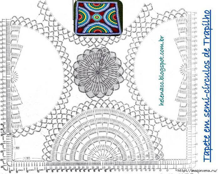 Цветной радужный коврик крючком. Схема (4) (700x556, 251Kb)