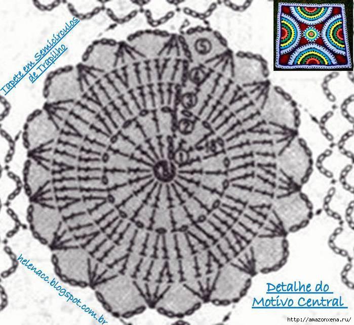 Цветной радужный коврик крючком. Схема (6) (700x643, 221Kb)