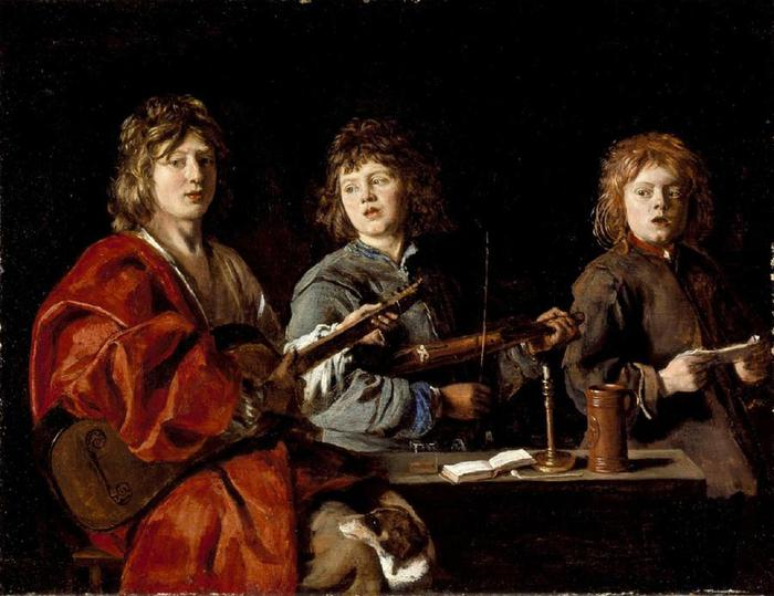 Antoine Le Nain - Three Young Musicians with number (700x539, 53Kb)