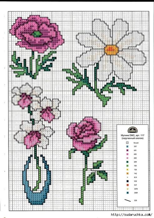 Point de croix grilles russes gratuites maison fleurs - Broderie point de croix grilles gratuites fleurs ...