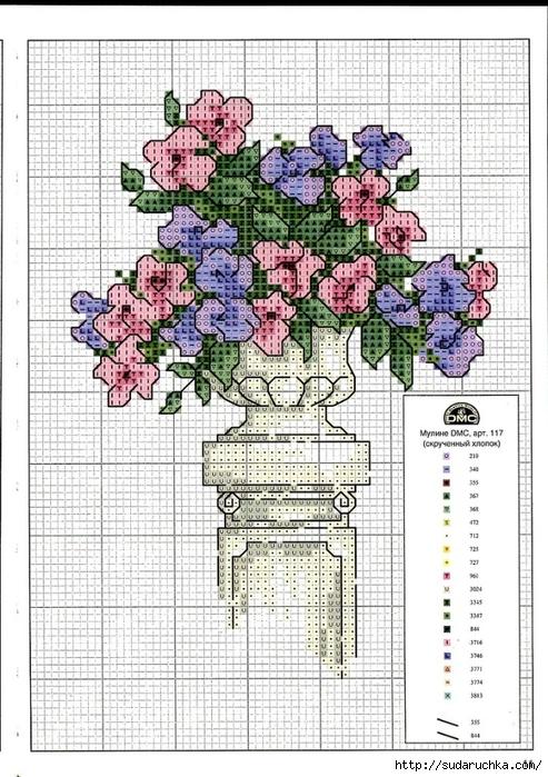 Point de croix grilles russes gratuites maison fleurs - Point de croix grille gratuite a imprimer ...