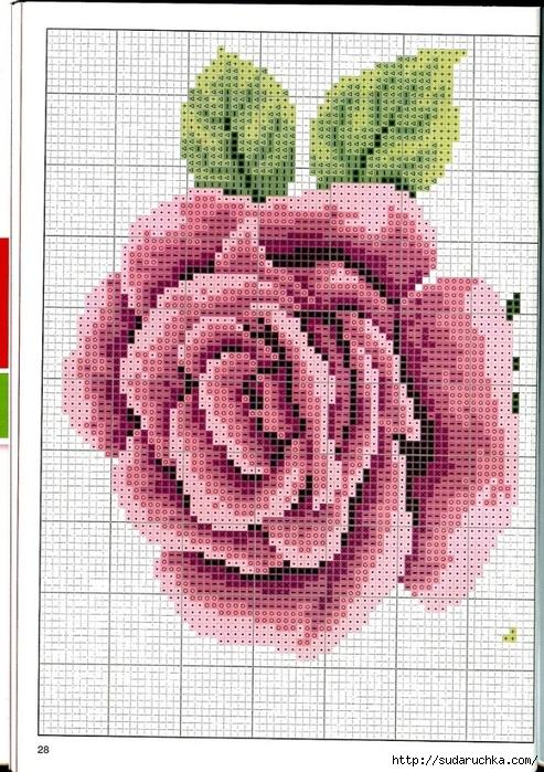 Схемы вышивки крупных цветов