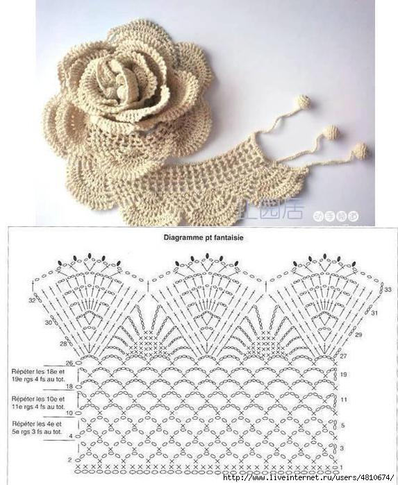 Вязание объемного цветка крючок схема 895