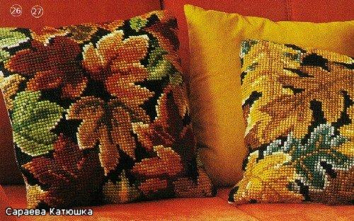 Вышитые подушки Листья (1) (500x312, 71Kb)