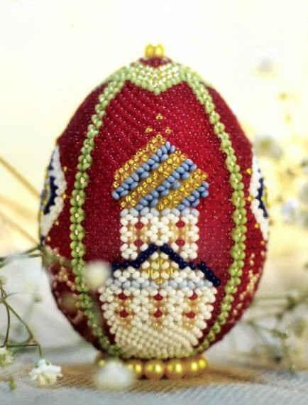 """Заготовка в форме яйца диаметром 5 сантиметра, высотой 7 сантиметров, бисер красный прозрачный  """"Guetermann Семечки """"..."""