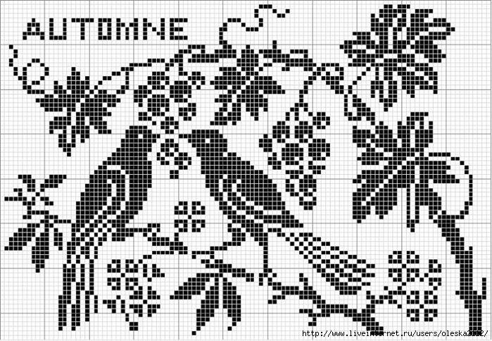 Схемы для вышивки монохром птицы