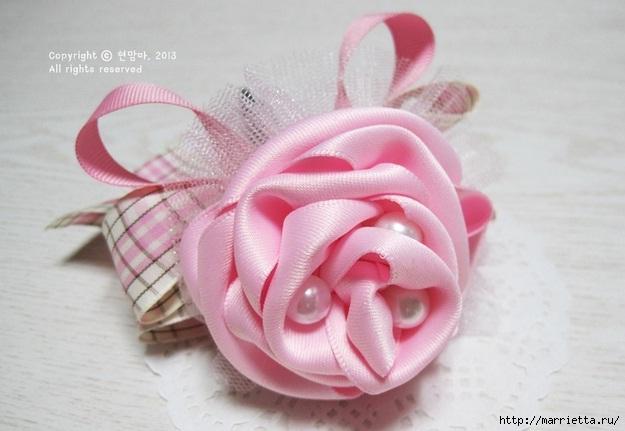 роза из атласной ленты (1) (625x431, 126Kb)