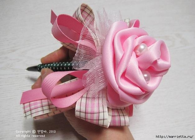 роза из атласной ленты (5) (626x449, 153Kb)