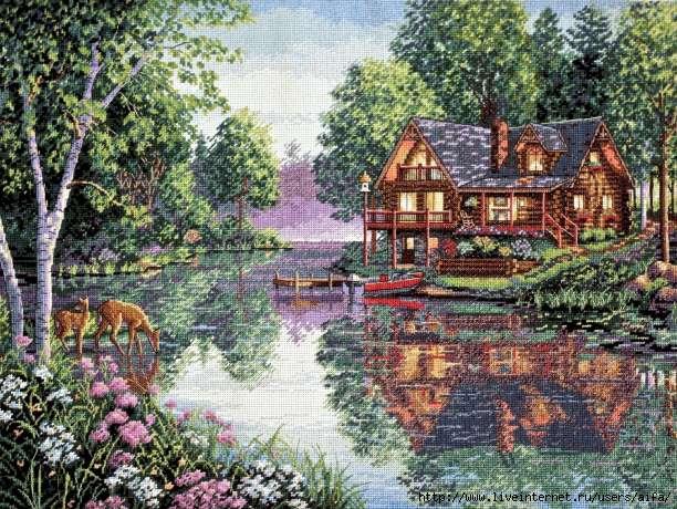 Вышивка домик у реки схема