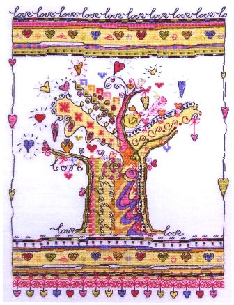 Вышивка крестом, схемы Дерево любви.  Прочитать целикомВ.