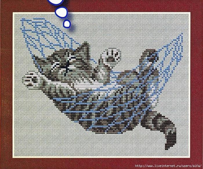 Вышивка крестом схемы Котёнок