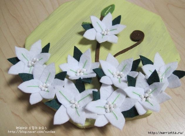 Белые цветы из фетра. Панно своими руками (18) (631x464, 150Kb)
