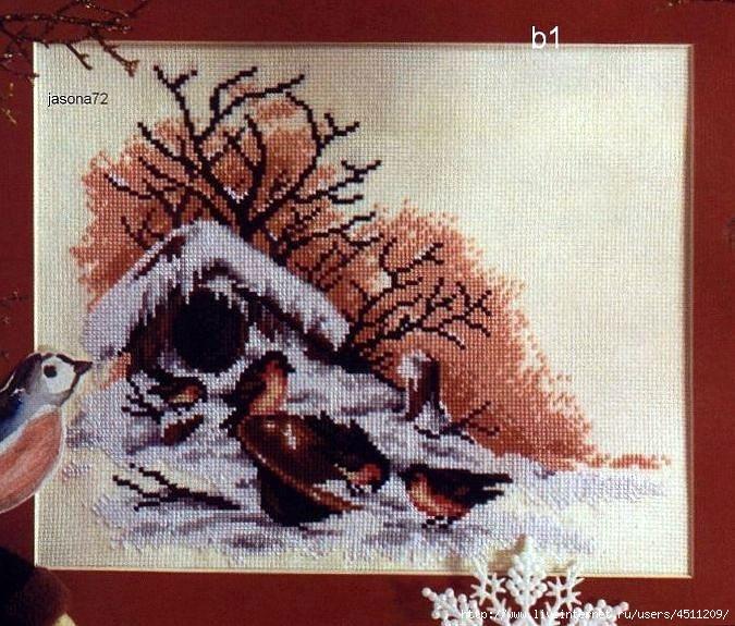 Зимний пейзаж с птицами.