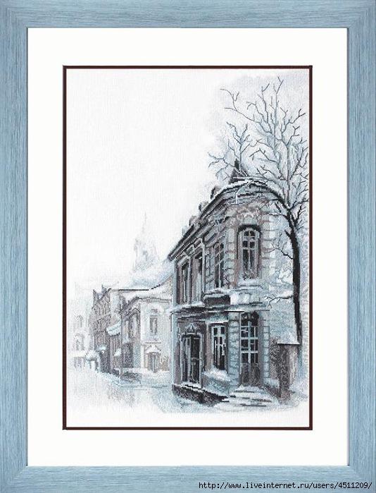 Зимний городской пейзаж.