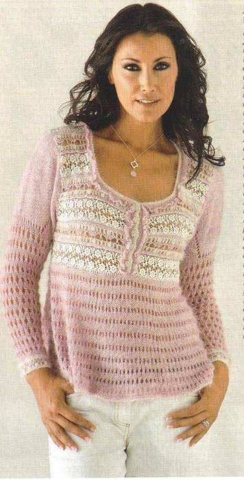Вязание спицами. Нежный романтичный пуловер (1) (356x700, 218Kb)