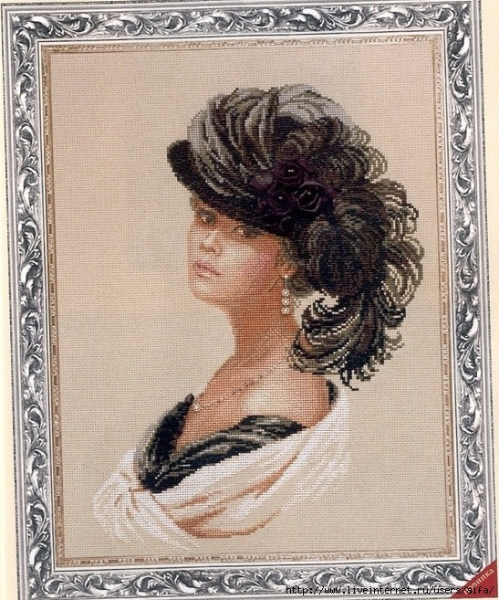 Вышивка портрет женщины в шляпе