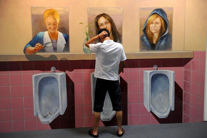 3d рисунок в туалете