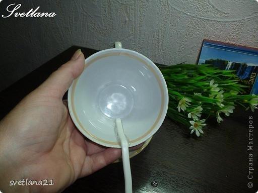 Фото 2. После того, когда клей полностью застынет, примеряем чашку к блюдце.