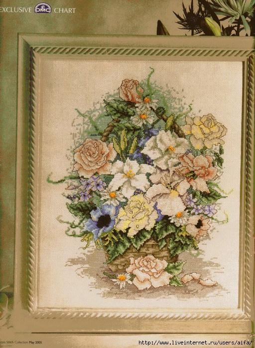 Вышивка цветов в бежевых тонах