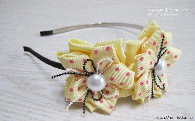 Ободок для девочки с цветами из ленты (1) (623x386, 127Kb)