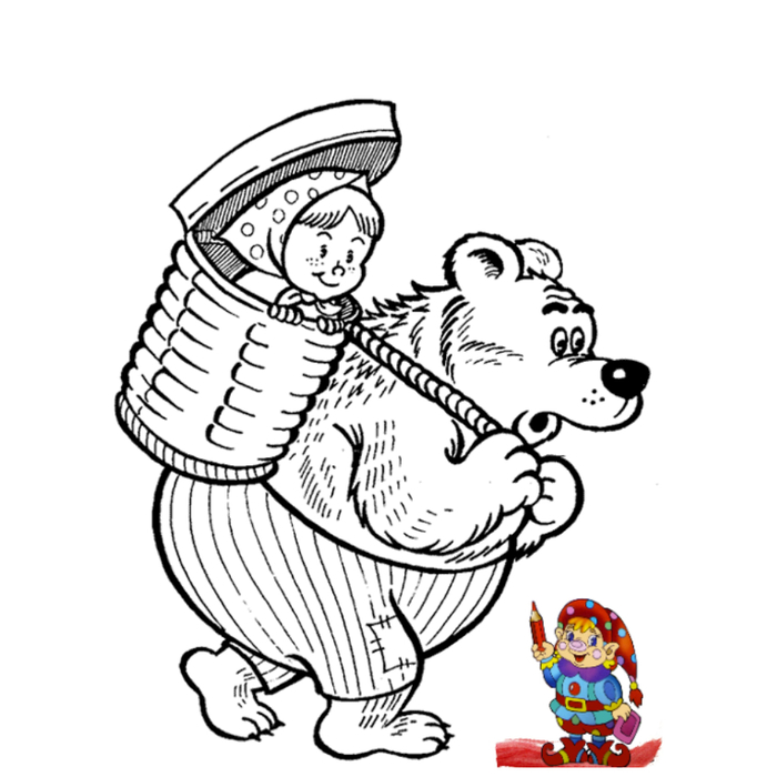 Раскраски героев мультфильмов маша и медведь