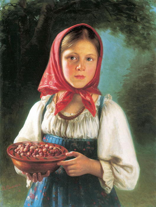 ВАСИЛИЙ ТИМОФЕЕВ. Девочка с ягодами. 1879 (528x700, 155Kb)