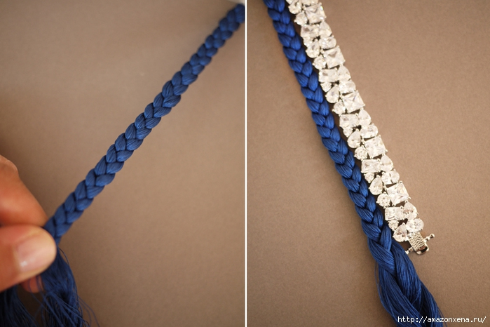 Украшаем браслет косичкой из ниток (3) (700x466, 204Kb)