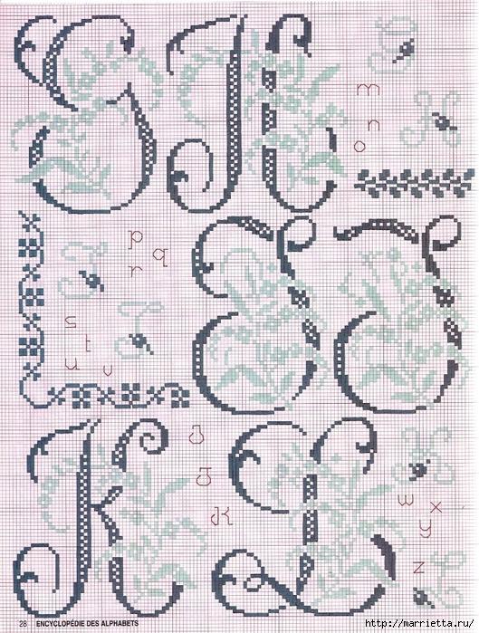 Красивая цветочная вышивка - АЛФАВИТ (15) (529x700, 401Kb)