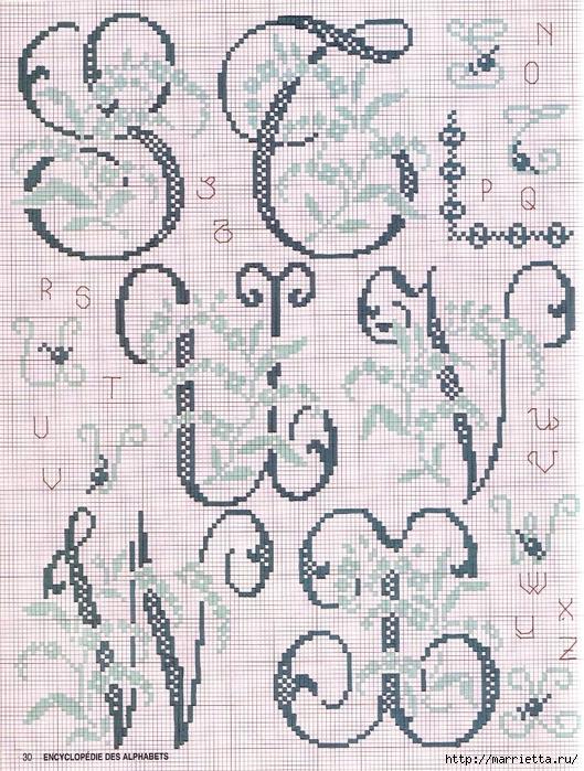Красивая цветочная вышивка - АЛФАВИТ (17) (529x700, 403Kb)