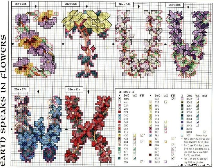 Красивая цветочная вышивка - АЛФАВИТ (23) (700x550, 435Kb)