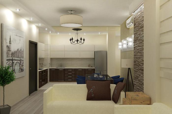 Дизайн кухни-гостиной 25 кв м