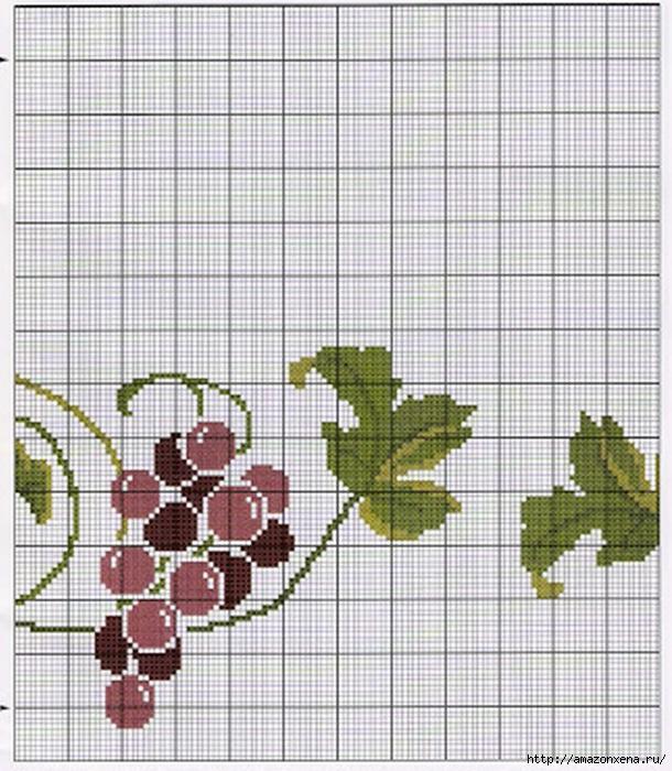Схема вышивки винограда для скатерти и подушки (8) (610x700, 283Kb)