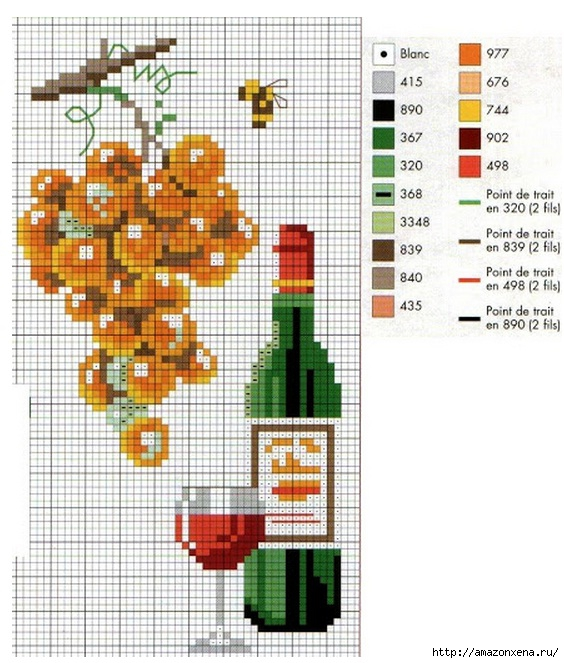 Схема вышивки винограда для скатерти и подушки (11) (564x663, 247Kb)