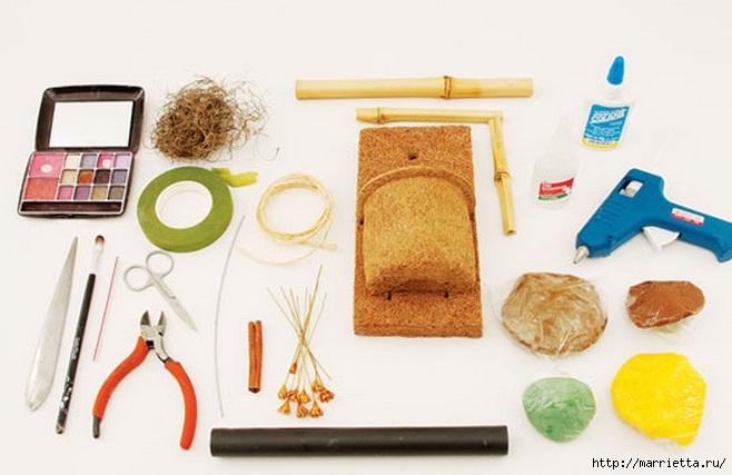 Декоративное панно с подсолнухом в рамочке из бамбука (2) (658x427, 133Kb)