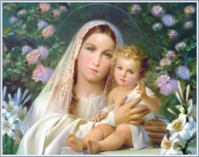 Для декупажа. Изображения Девы Марии с сыном Иисусом (9) (676x533, 55Kb)