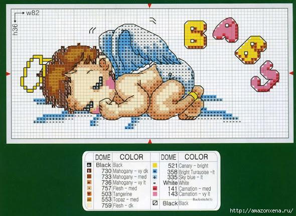 Схемы детской вышивки крестиком. Ангелочки (4) (590x431, 211Kb)