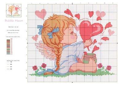 Схемы детской вышивки крестиком. Ангелочки (10) (400x283, 31Kb)