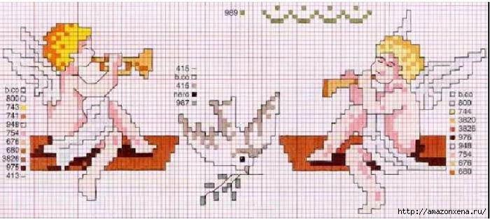 Схемы детской вышивки крестиком. Ангелочки (17) (700x313, 143Kb)