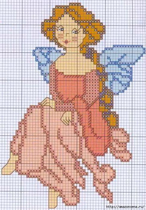 Схемы детской вышивки крестиком. Ангелочки (19) (484x695, 231Kb)
