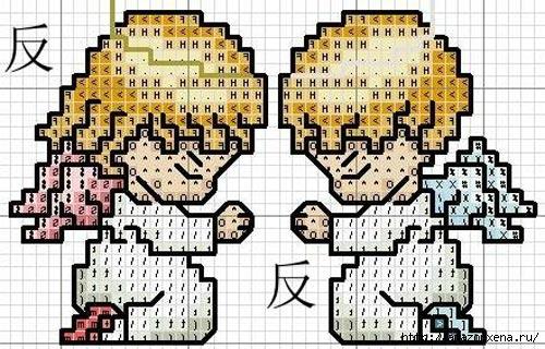 Схемы детской вышивки крестиком. Ангелочки (21) (500x320, 162Kb)