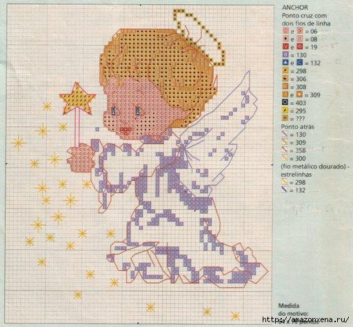 Схемы детской вышивки крестиком. Ангелочки (23) (512x474, 145Kb)