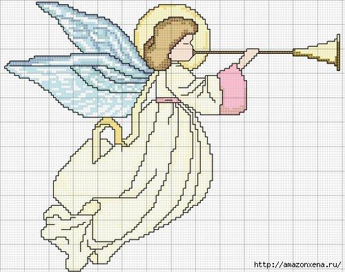 Схемы детской вышивки крестиком. Ангелочки (27) (500x394, 137Kb)