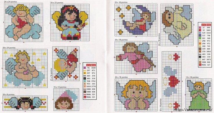 Схемы детской вышивки крестиком. Ангелочки (31) (700x372, 218Kb)