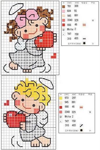 Схемы детской вышивки крестиком. Ангелочки (33) (343x512, 52Kb)